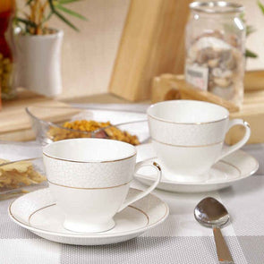 White 12-Pieces Solid Bone China Cups and Saucers Set - Wooden Home Decor