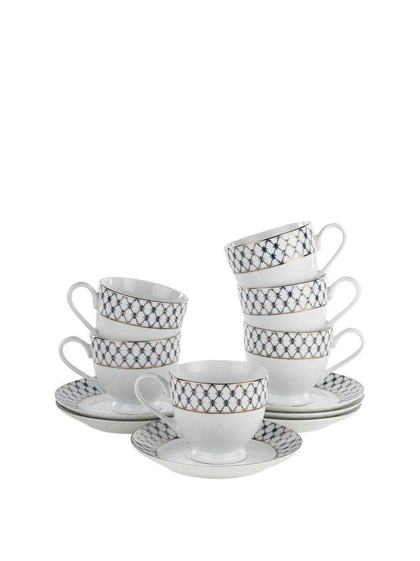 White 6 PC Printed Porcelain Cups and Saucers Set with 24 Carat Platinum Plating - Wooden Home Decor