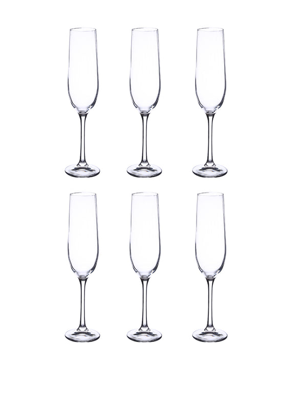 Set Of 6 Champagne Flute Glass 190 Ml - Wooden Home Decor