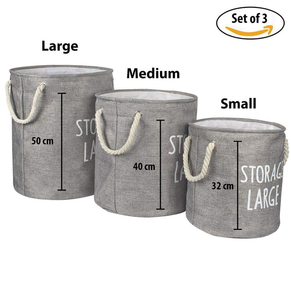 Multipurpose Laundry Basket and Toy Storage Bag (Grey) Set of 3 - Wooden Home Decor