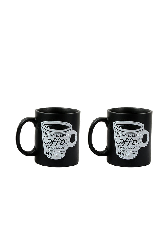 Black Set Of 2 Printed Ceramic Today Coffee Mugs Set - Wooden Home Decor