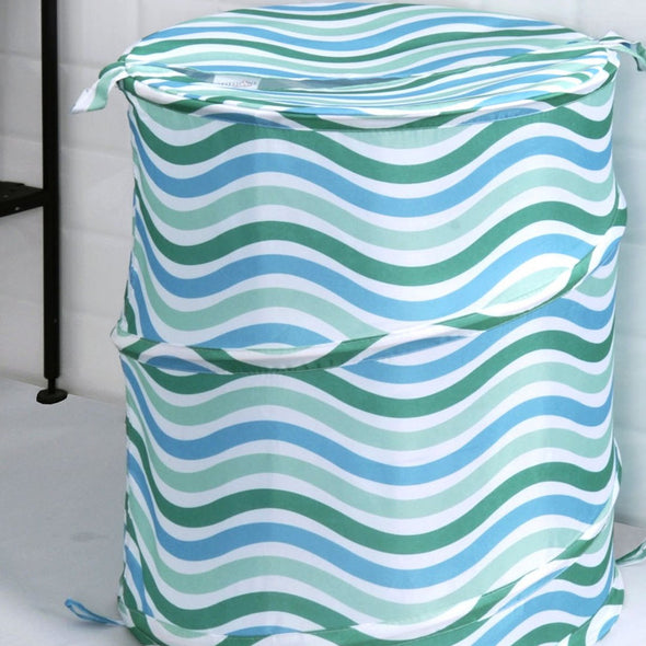 Blue & Green Striped Laundry Bag - Wooden Home Decor