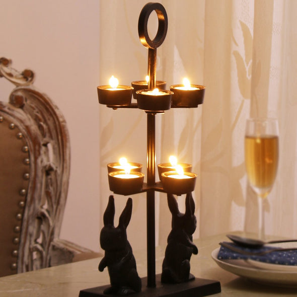 Black Rabbit-Shaped Candleholder - Wooden Home Decor