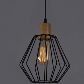 Black Solid Hanging Ceiling Lamp - Wooden Home Decor
