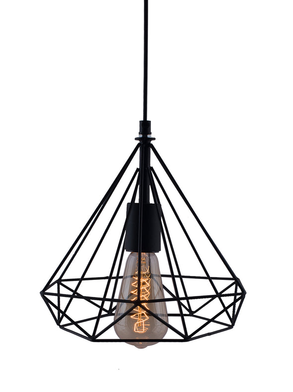Black Solid Hanging Wall or Ceiling Lamp - Wooden Home Decor