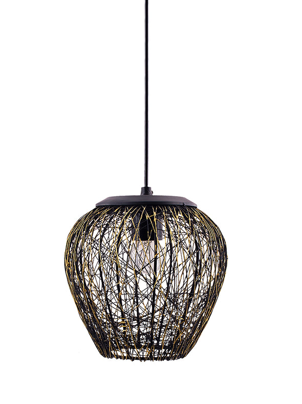 Black Textured Hanging Wall or Ceiling Lamp - Wooden Home Decor