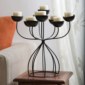 Bronze & Gold-Toned Danielle 9 Cups Iron Candleholder - Wooden Home Decor