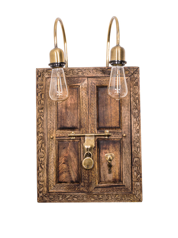 Brown & Gold-Toned Handcrafted Window Aldrop Wall Lamp - Wooden Home Decor