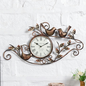 Brown Metal Wall Clock - Wooden Home Decor