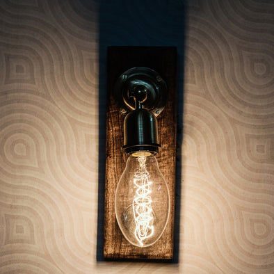 Brown Retro Switch Wall Sconce - Wooden Home Decor