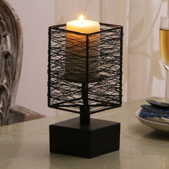 Brown Square Shaped Candle Holder - Wooden Home Decor