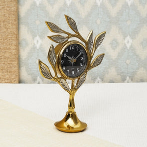 Casablanca Leaf Design Table Clock - Wooden Home Decor