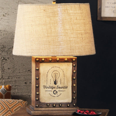 Coffee Brown & Beige Self Design Handcrafted Table Top Lamp with Shade - Wooden Home Decor
