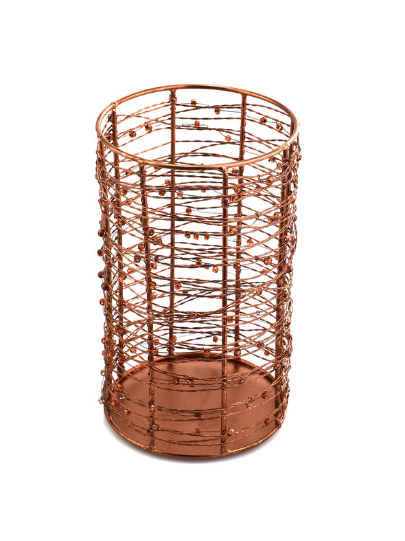 Copper-Toned Cylindrical Candle Holder - Wooden Home Decor