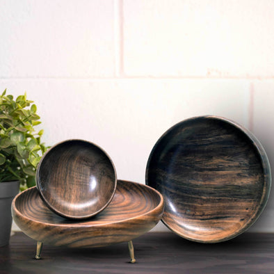 Wooden Handicraft Set of 3 Bowls With Brass Legs