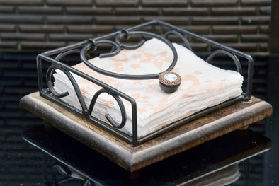 Wooden And Iron Tissue Holder