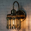 Gold-Toned Keys Wall Lamp - Wooden Home Decor
