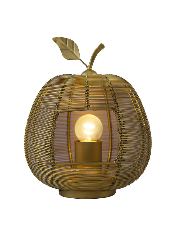 Gold-Toned Self Design Handcrafted Apple Shaped Table Lantern - Wooden Home Decor