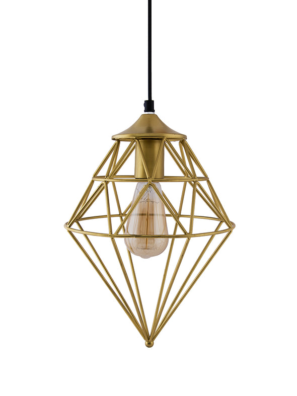 Gold-Toned Solid Hanging Wall or Ceiling Lamp - Wooden Home Decor
