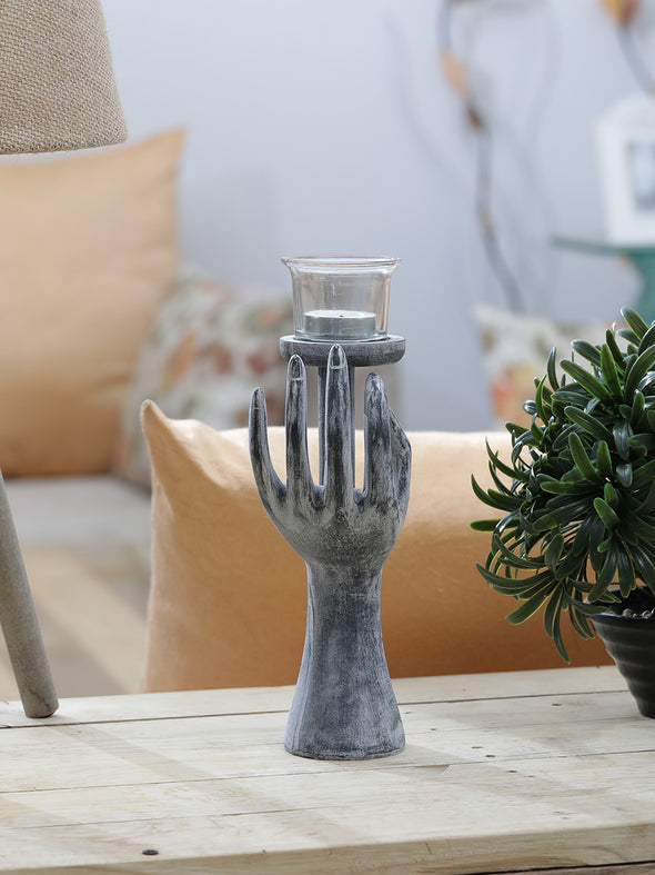 Grey Melange Candle Holder - Wooden Home Decor