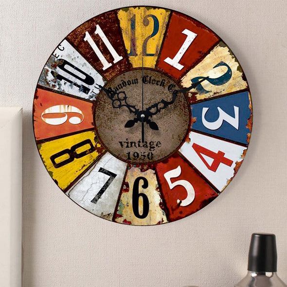 Multicoloured Analogue 37 cm Wall Clock - Wooden Home Decor