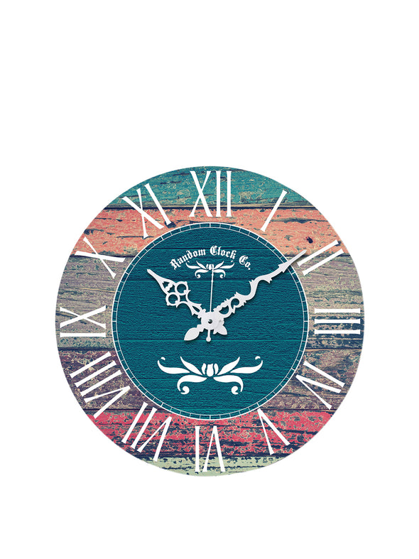 Multicoloured Round Printed Analogue Wall Clock - Wooden Home Decor