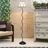 Off White Poly Cotton Floor Lamp - Wooden Home Decor