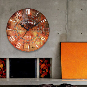 Orange Dial Wooden 29.2 cm Analogue Wall Clock - Wooden Home Decor