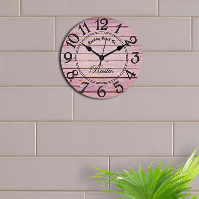 Pink Round Printed 29.21 cm Analogue Wall Clock - Wooden Home Decor