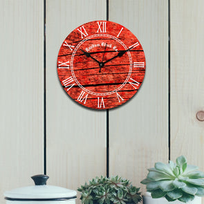 Red Round Printed 29.21 cm Analogue Wall Clock - Wooden Home Decor