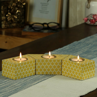 Set of 3 Yellow & White Handcrafted Candle Holders - Wooden Home Decor
