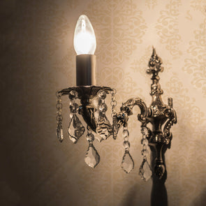 Silver-Toned Antique Wall Lamp - Wooden Home Decor
