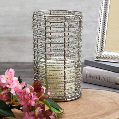 Silver-Toned Cylindrical Candle Holder - Wooden Home Decor
