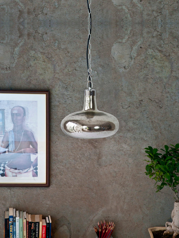 Silver Circular Pendant Lamp - Wooden Home Decor