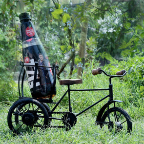 Wooden Handicraft  And Iron Antique Cycle Bottle Holder