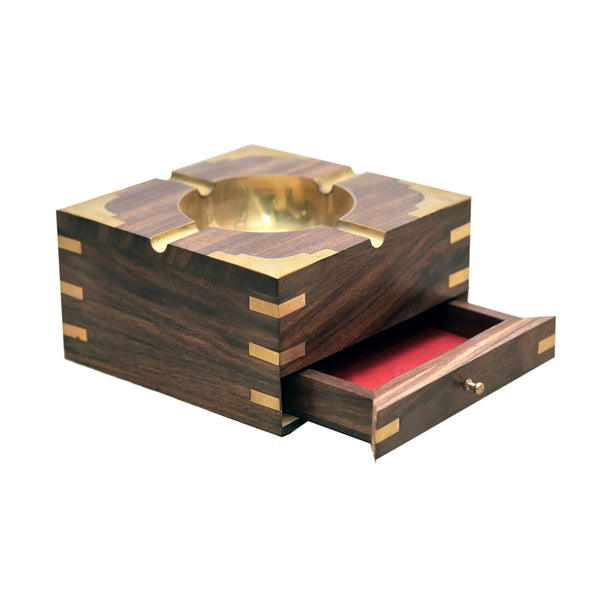 Wooden Ash Tray With Cigarette Drawer