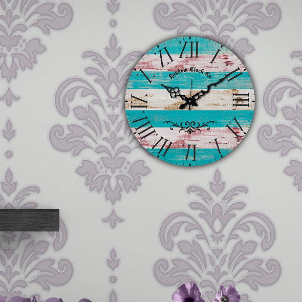 Turquoise Blue Round Printed 38.1 cm Analogue Wall Clock - Wooden Home Decor