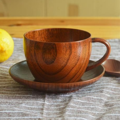 Set of Brown Wooden Cup and Saucer
