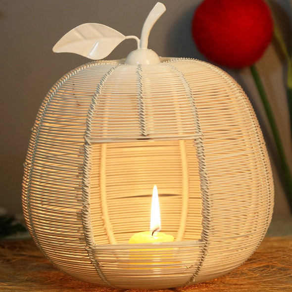 White Solid Apple-Shaped Candle Holder - Wooden Home Decor
