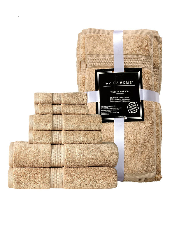 Unisex Beige Set of 6 550 GSM Towels - Wooden Home Decor