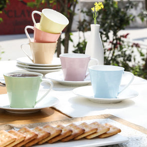 Multicoloured Set of 6 Textured Bone China Cups and Saucers - Wooden Home Decor