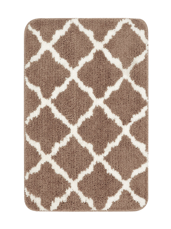 Set of 2 Beige & White Microfibre Anti-Slip Bath Rugs - Wooden Home Decor