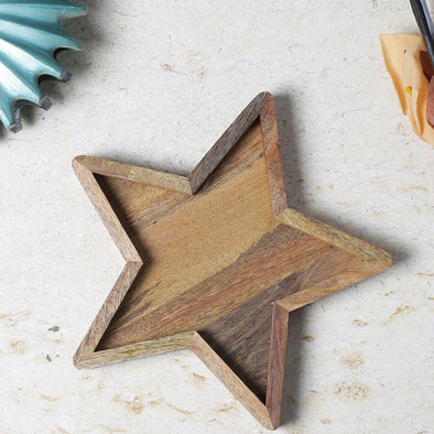Brown Star Shape Wooden Tray - Wooden Home Decor