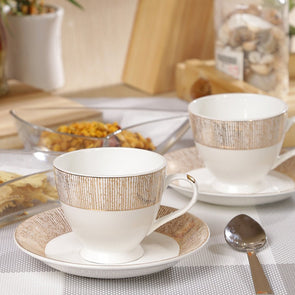 White & Gold-Toned 12-Pieces Printed Bone China Cups and Saucers Set - Wooden Home Decor
