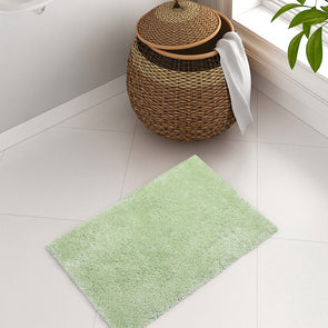 Green Solid Plush Bath Rug - Wooden Home Decor