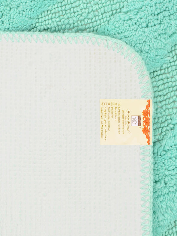 Turquoise Blue Cotton Bath Rug & Contour - Wooden Home Decor