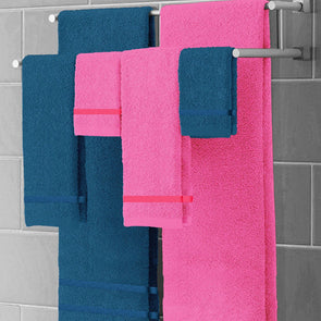 Set of 6 Navy & Pink 450 GSM Face Towels - Wooden Home Decor