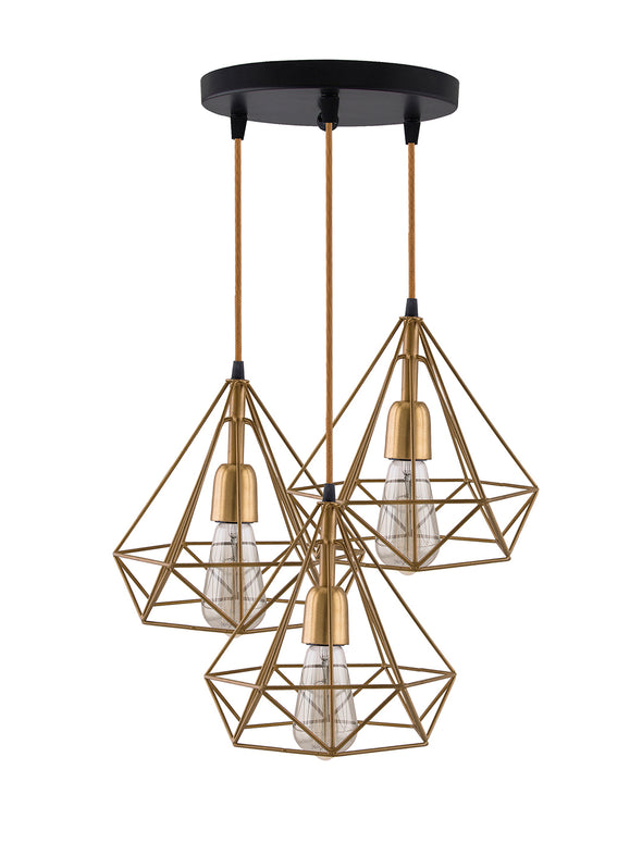 Gold-Toned Solid Handcrafted Ceiling Lamp - Wooden Home Decor