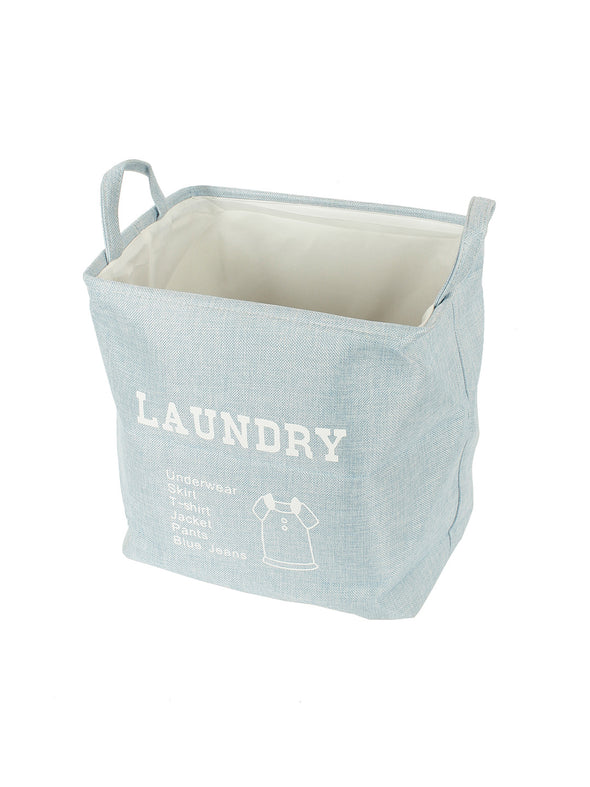 Unisex Blue Printed Foldable Laundry Bag - Wooden Home Decor