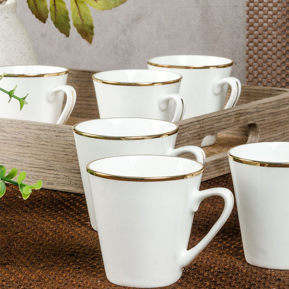 White 6-Pieces Printed Bone China Cups Set - Wooden Home Decor